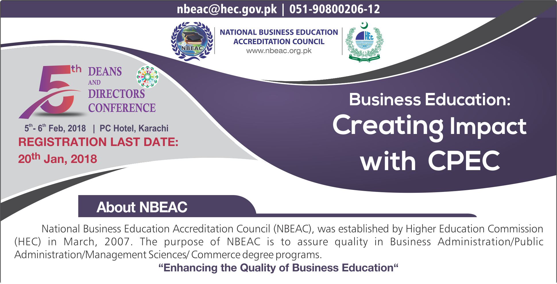 NBEAC 5TH DEANS & DIRECTORS CONFERENCE - 2018